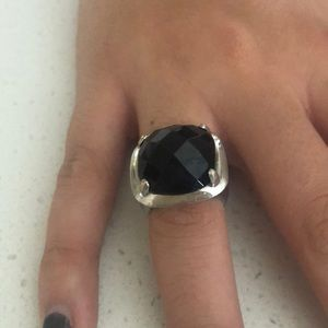 Macy's gorgeous black stone on silver ring